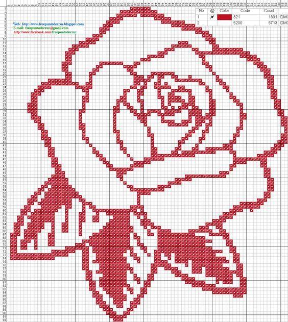 Rosa roja - Patron punto de cruz   C2C Crochet Blanket   Pinterest ...
