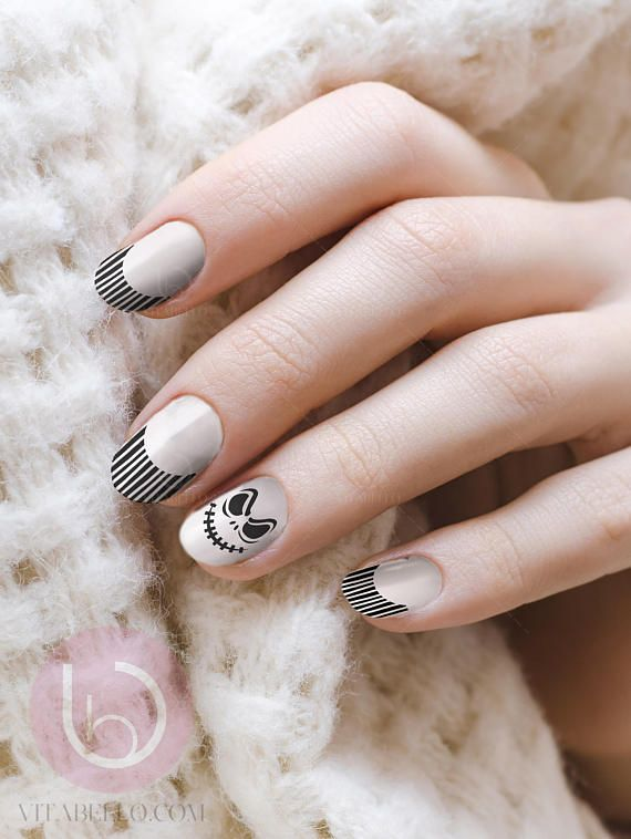 Nightmare Before Christmas In French.Nightmare Before Christmas French Nail French Nail Nail Art