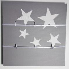 P le m le tableau gris etoiles blanches d co murale for Pele mele chambre garcon
