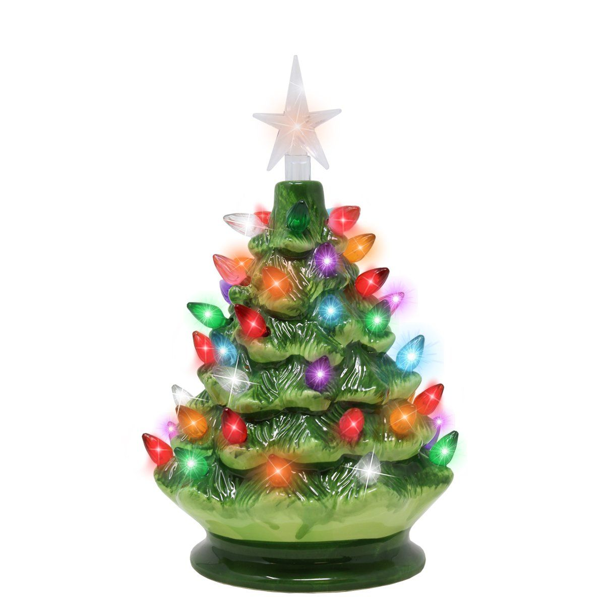 tabletop prelit ceramic christmas tree with led lights battery powered mini christmas tree decoration by joiedomi - Battery Powered Christmas Decorations