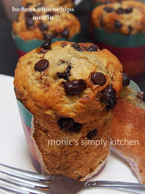 Banana Chocolate Chips Muffin Monic S Simply Kitchen Kue Pisang Kue Lezat Makanan