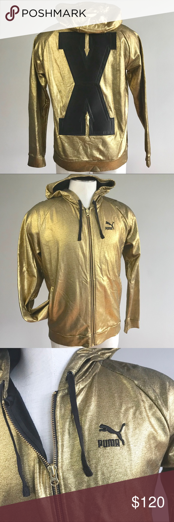 Puma X Vashtie Men Gold Logo Hoodie Track Jacket Puma X Vashtie Mens Logo Hoodie Track Jacket Size Medium 568731 Gold Jacket Track Jackets Hoodies Gold Jacket [ 1740 x 580 Pixel ]