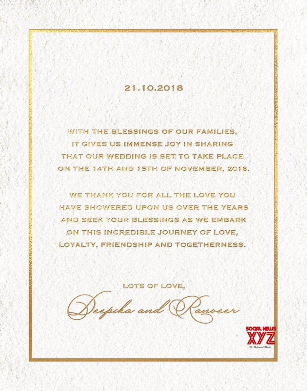 Deepika Padukone Wedding Card Google Search Wedding Invitation Cards Deepika Padukone Big Wedding