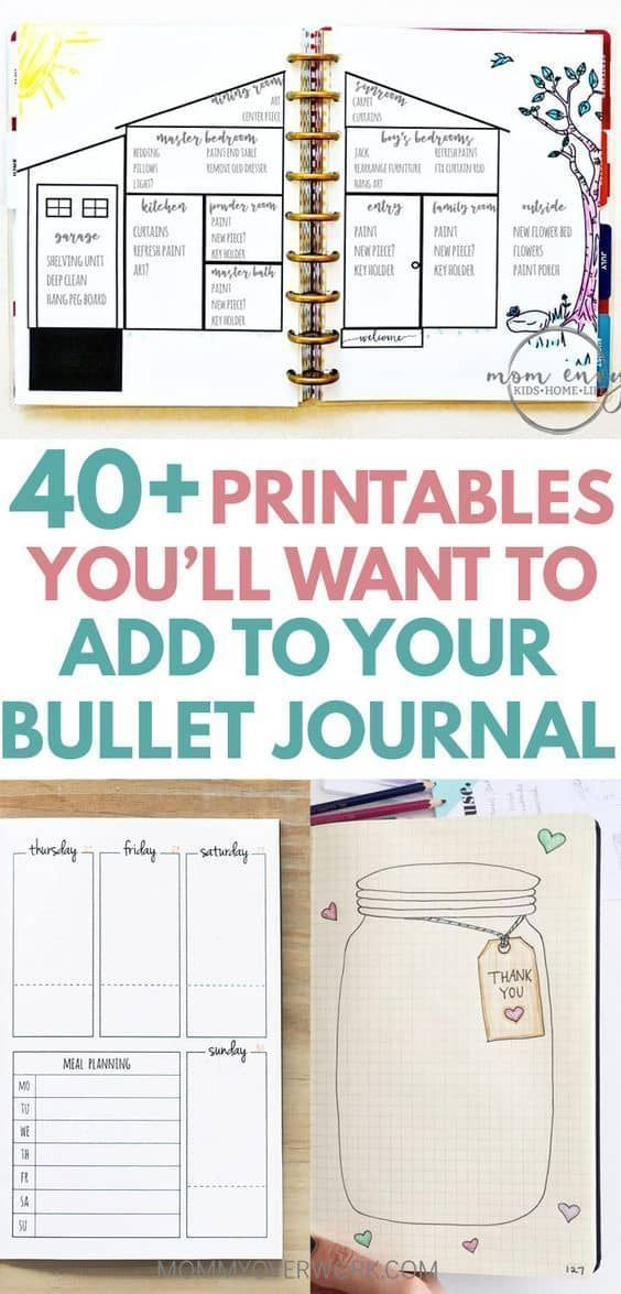 40 Plus Free Printables You will Want to Add to Your Bullet Journal by Mommy Over Work |The Basics of Bullet Journaling: Bullet Journal Tips, Tricks, Supplies and Free Templates!