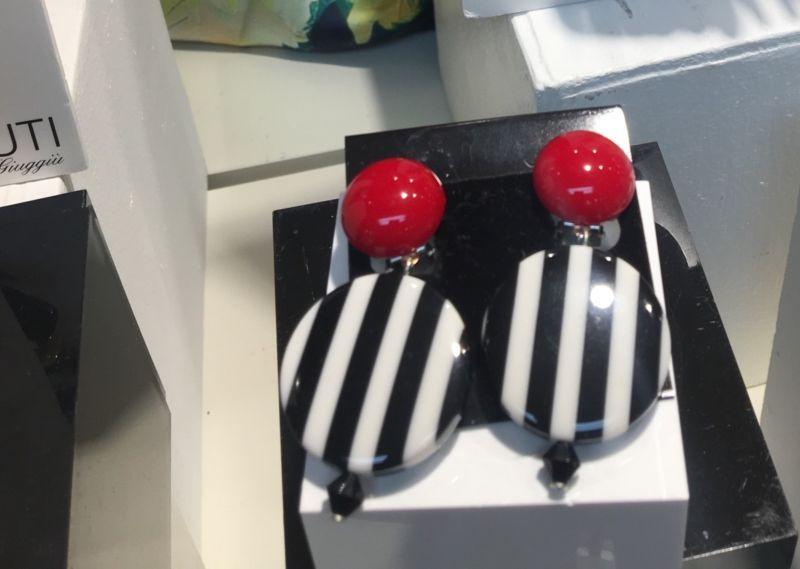 Angela Caputi Italy Black Stripped And Red Resin Bead Earrings NWT