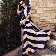 2016  summer style chiffon women long maxi dresses new floor-length plus size stripped vintage print o-neck dress alishoppbrasil