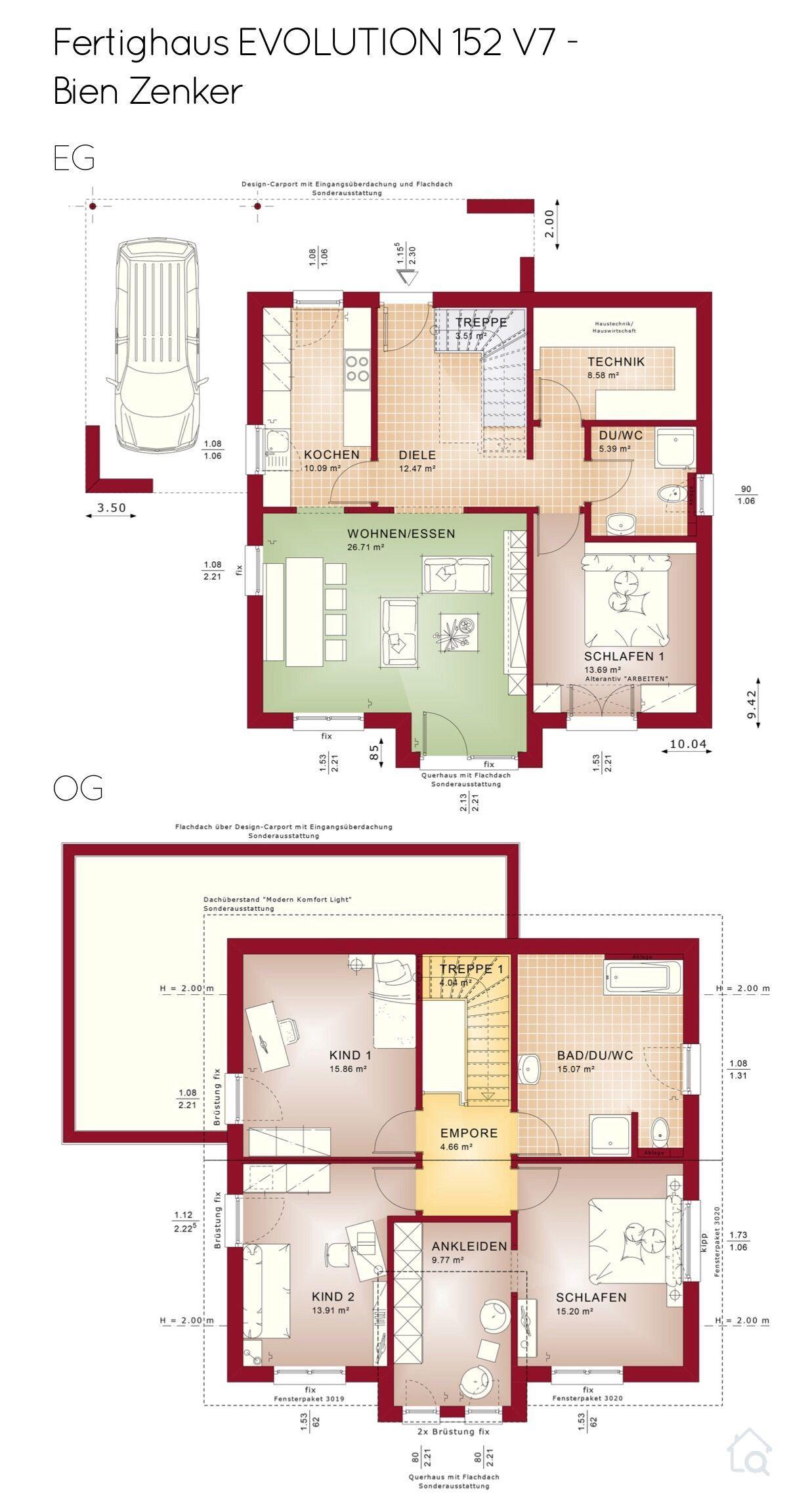 Einfamilienhaus Grundriss modern mit Satteldach