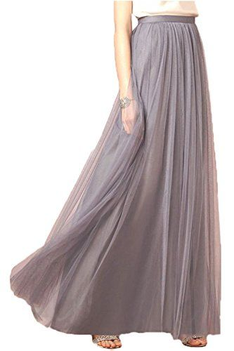 cf3cf43598 Honey Qiao Women's Maxi High Waist Skirts Blush Tulle Holiday Formal Skirt  at Amazon Women's Clothing store: