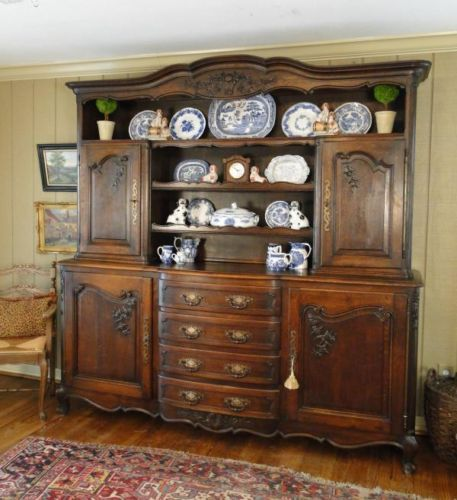 Antique French Country Hutch Cupboard Buffet Carved Dark