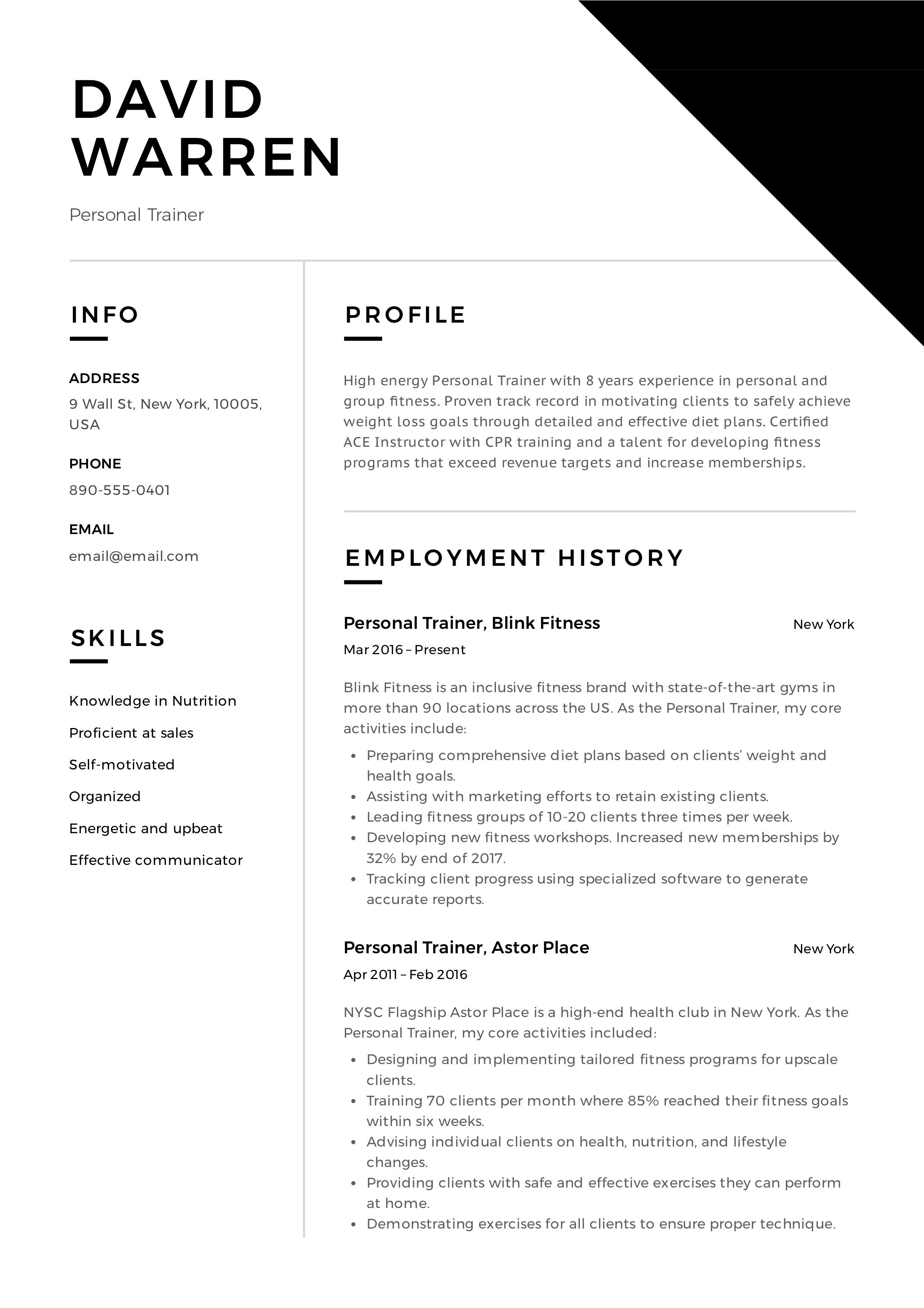 Personal Trainer Resume Event planner resume