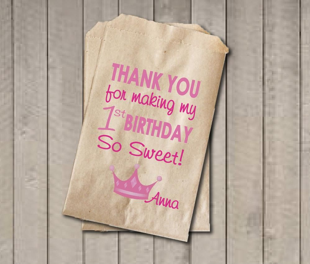 Girl Birthday Favor Bags, Princess Candy Bags, First Birthday Favor ...