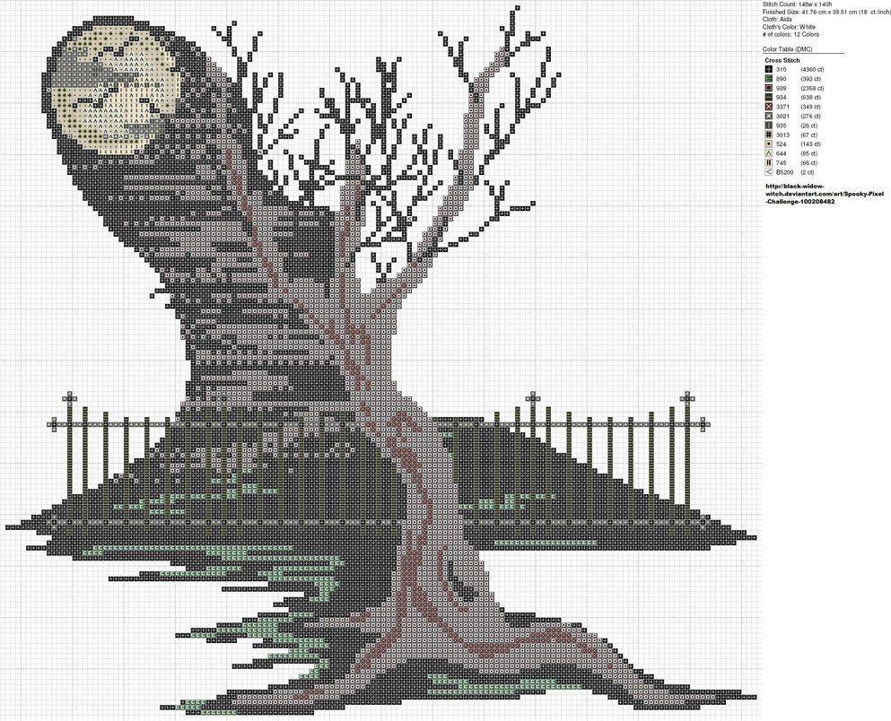 Free Moonlit Bare Tree cross stitch pattern by carand88 on deviantART. #Halloween #cross_stitch #patterns