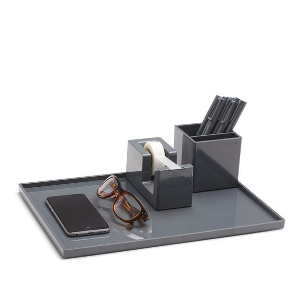 Poppin Dark Gray Large Slim Tray | Cool and Modern Office Supplies #workhappy