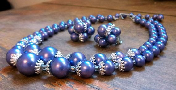Vintage Purple TwoStrand Necklace and Clipon Earrings $14.00