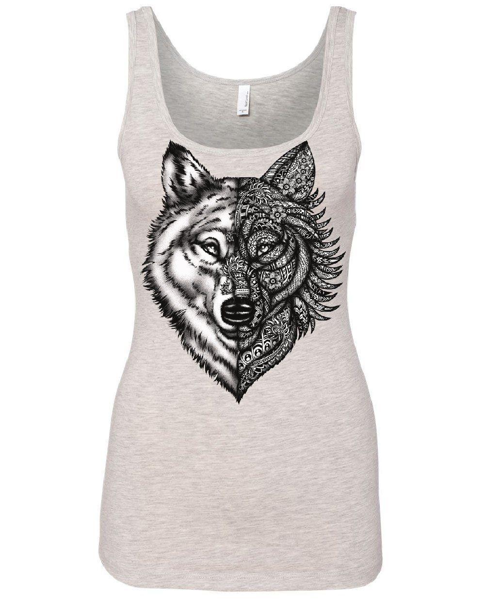 Wolf Head with Pattern Women/'s T-Shirt Wild Wolves Animal Wildlife Shirt