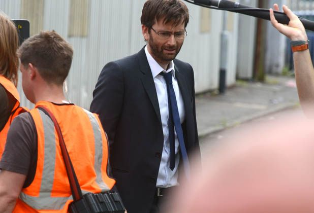 David Tennant and Olivia Colman filming Broadchurch in Bristol