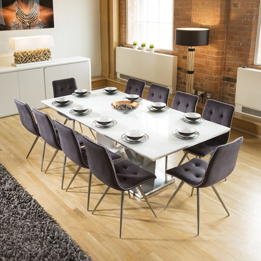 Massive 10 Seater Dining Set 2 4mt White Glass Top Table 10 Grey Chairs Glass Top Dining Table Dining Table Sizes 8 Seater Dining Table