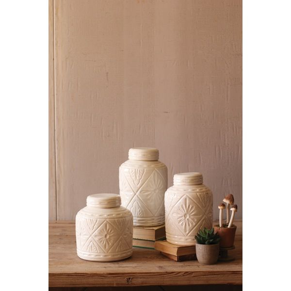 Kalalou Ivory Ceramic Canisters With Geometric Pattern Set Of 3