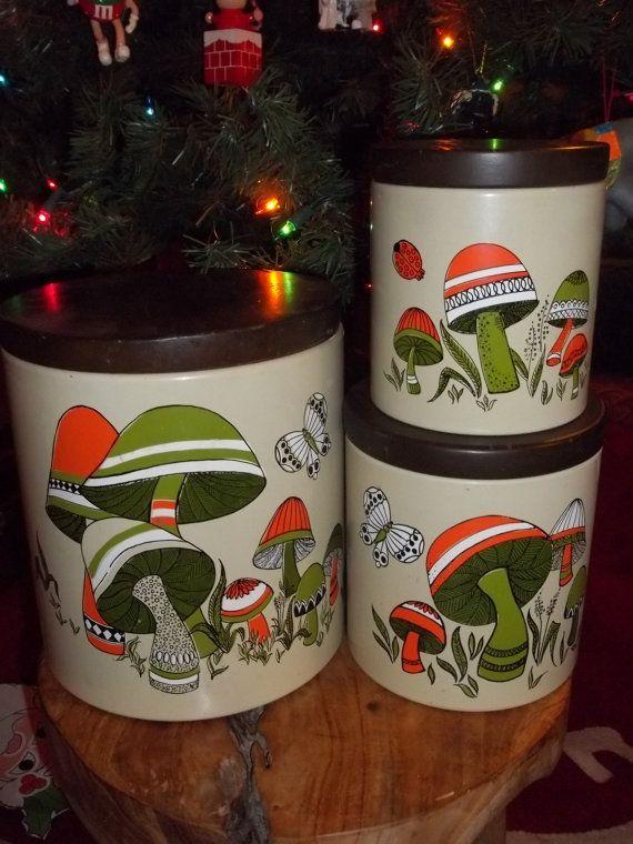 Vintage Ransburg Mushroom Canister Set of 3   by JunkyardElves, $18.95