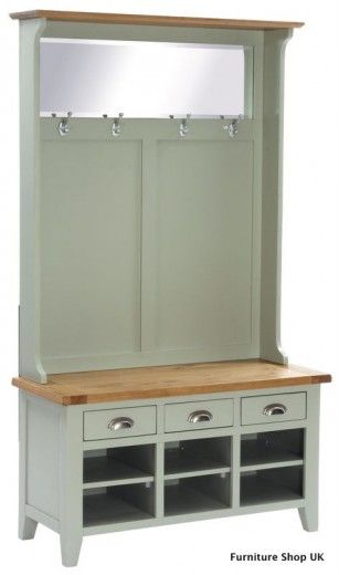 Vancouver Expressions Oak Painted Hall Tidy Unit Shoe Storage Coat Rack Bench