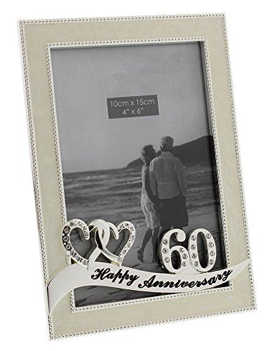 Beautiful 60th Wedding Anniversary Frame with Double Heart ...