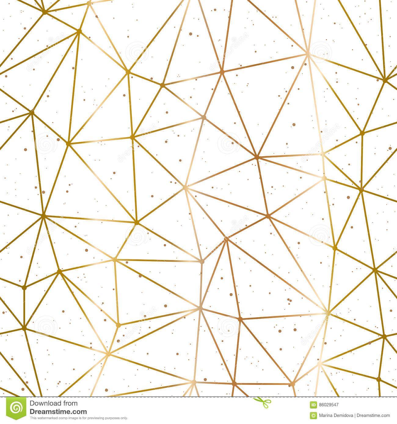Geometric Polygonal Gold White Background Vector Golden