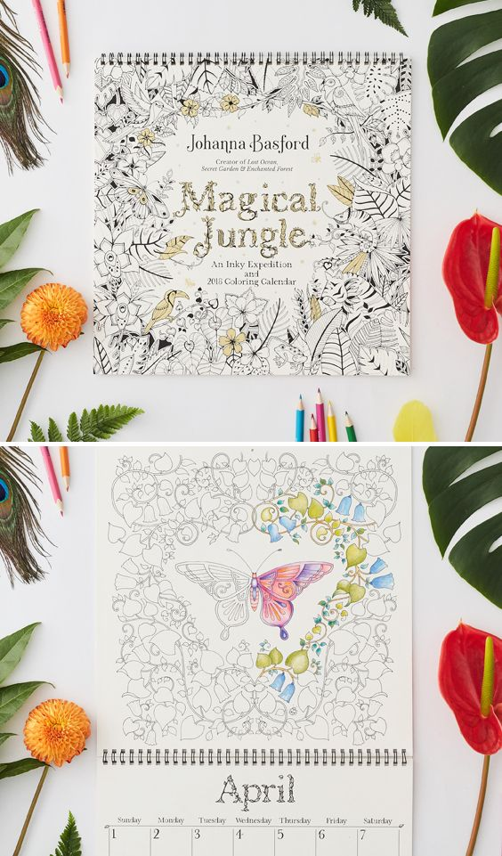 Johanna Basford 2018 Magical Jungle Wall Calendar  13 specially