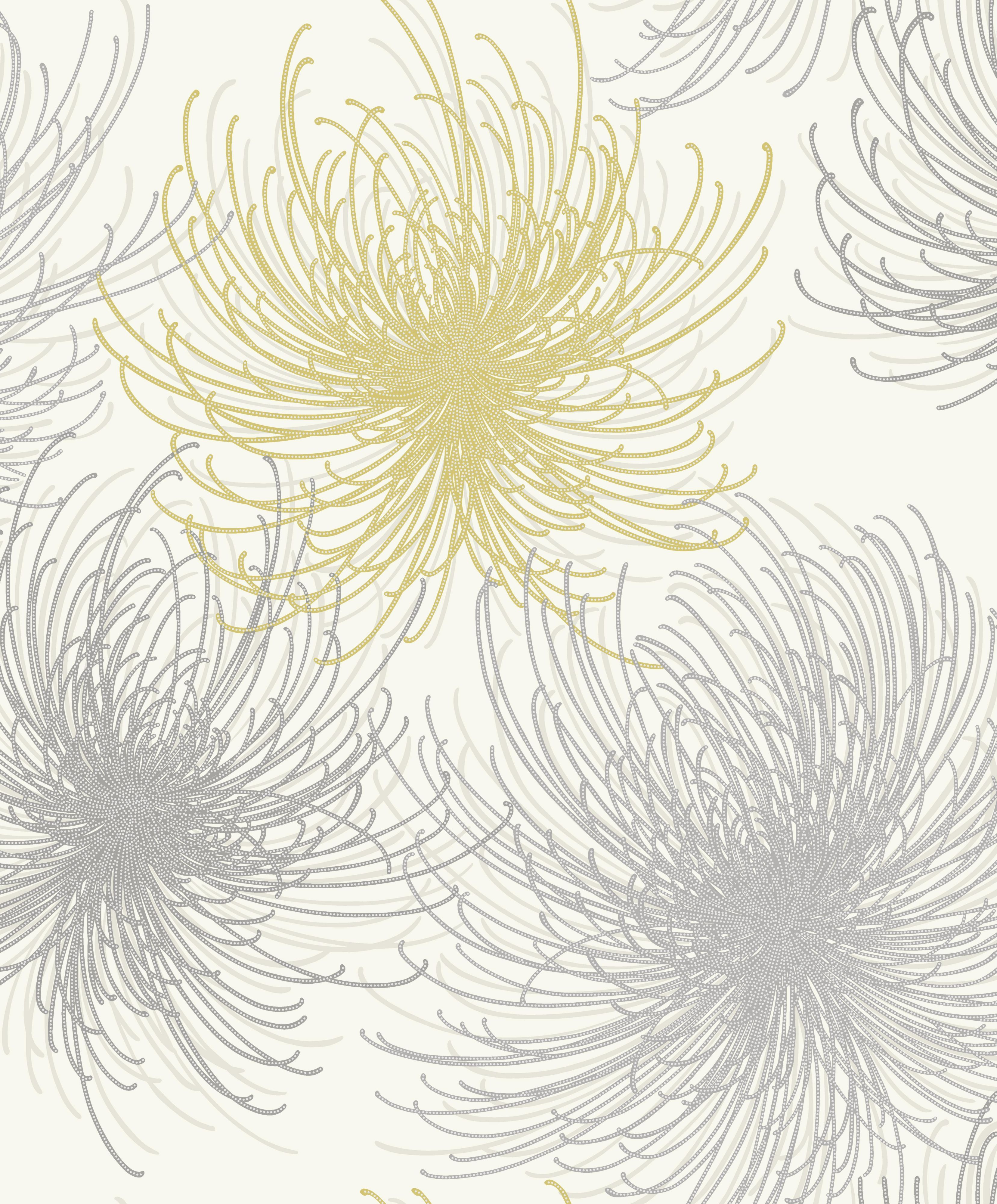 Bedroom Gold Cosmo Yellow Grey Floral Glitter Effect Wallpaper