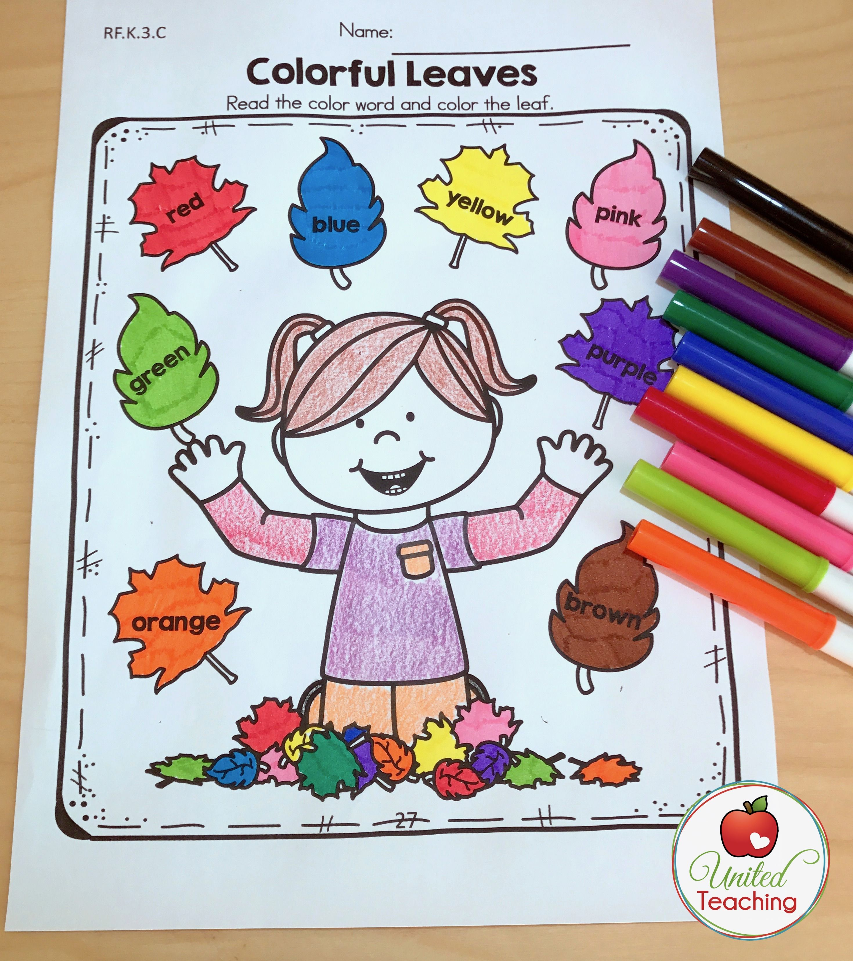 Autumn No Prep Kindergarten Packets With Images