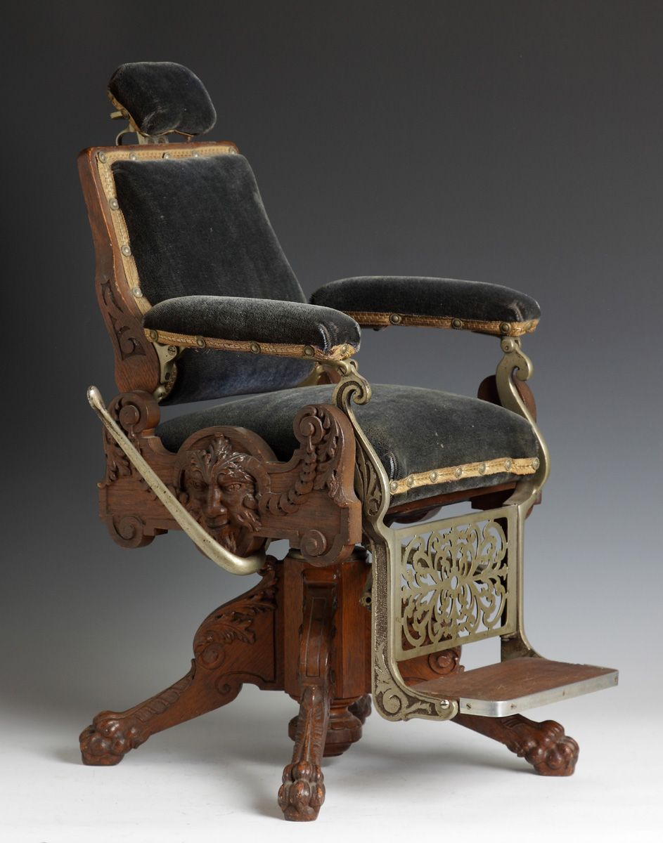 Very rare victorian period salesman sample barber chair for Steam punk chair