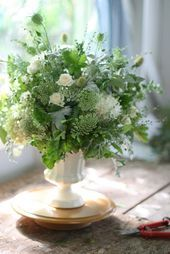 Photo of IMG_9609  Wild and loose arrangement in milk glass    This i…