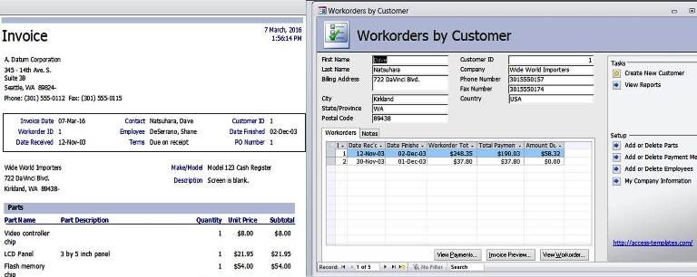 access templates work orders invoice services management