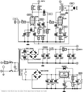 EL34 Single Ended (SE) Tubo de amplificador Schematic