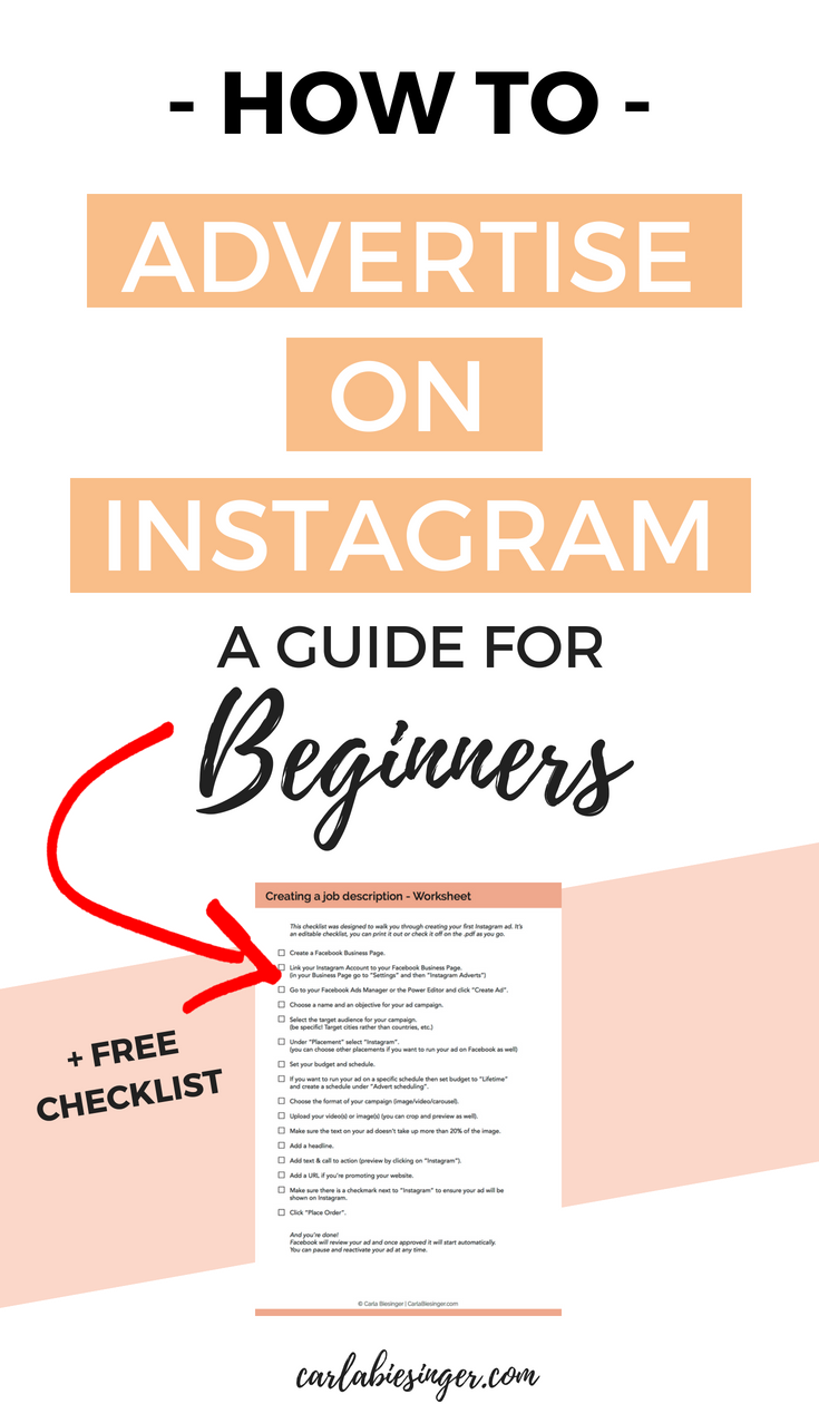 How To Advertise On Instagram A Beginner S Guide Carla Biesinger Instagram Advertising Instagram Marketing Tips Instagram Business