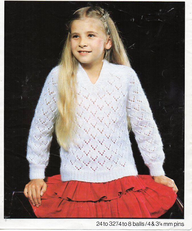 fed185f3dd89 girls lacy v neck sweater knitting pattern PDF childrens DK jumper 24-32