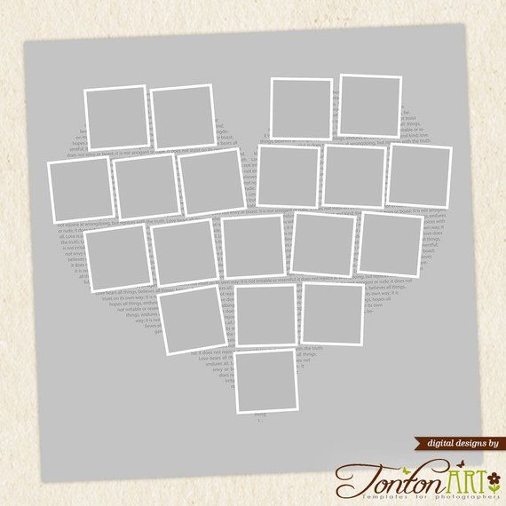 Heart Shape Photo Collage Template 24x24 11x11 Photoshop Story