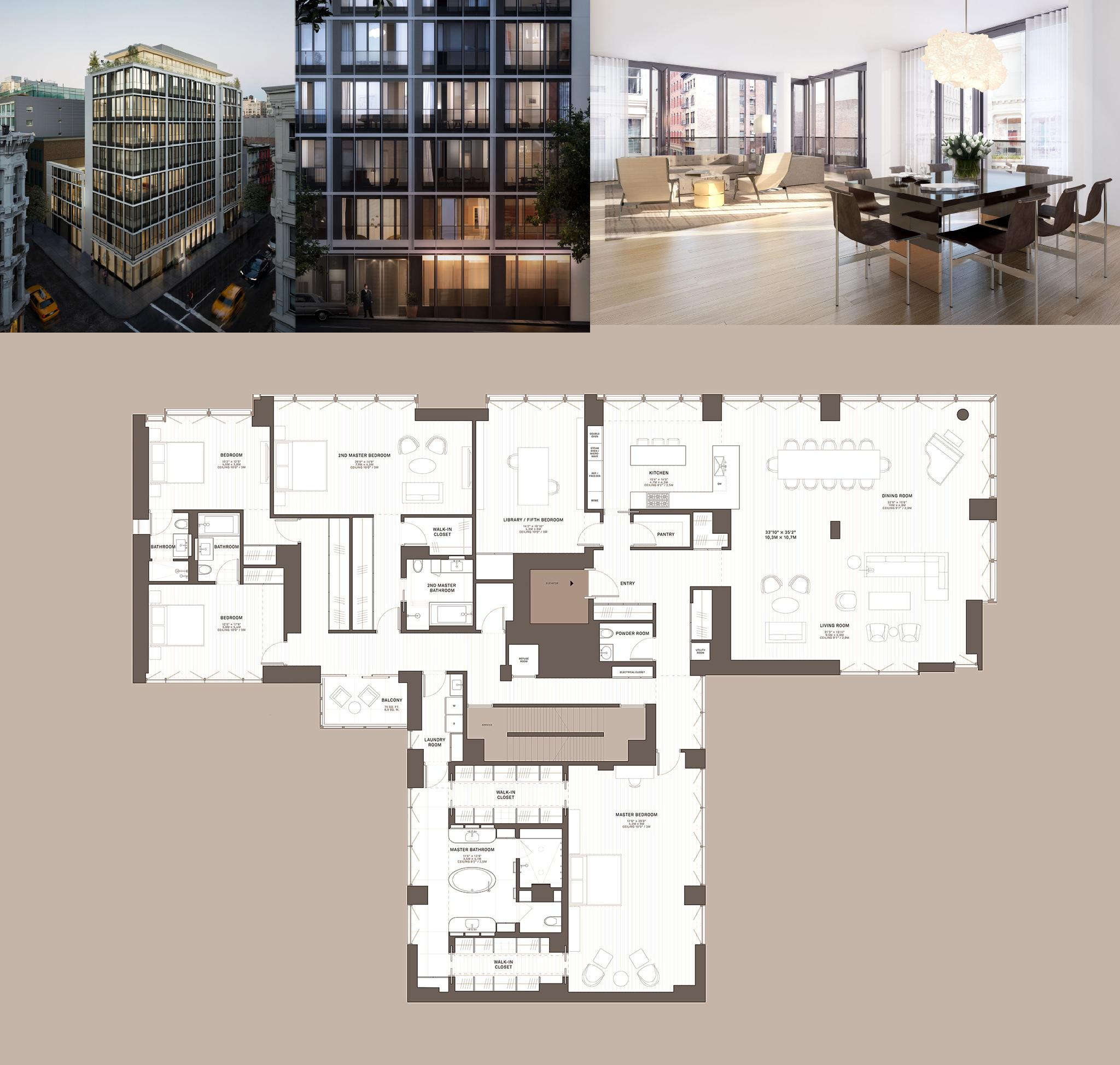 Two Bedroom Suites In New York City: 5,075 Sqft + Balcony 75 Sqft