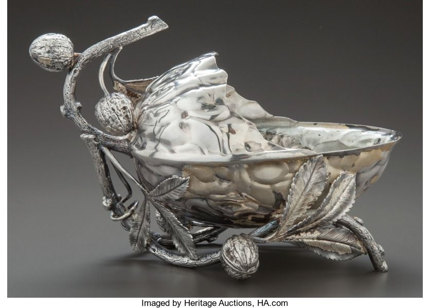 A MERIDEN SILVER-PLATED FIGURAL NUT DISH . Meriden Silver   Lot #68531   Heritage Auctions