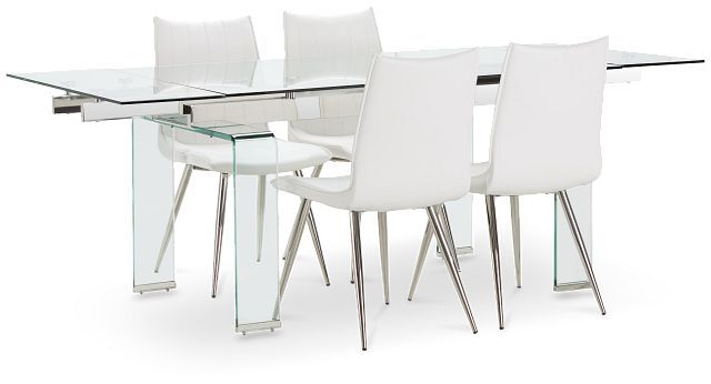 Wynwood Glass Rect Table 4 White, Wynwood Dining Room Sets