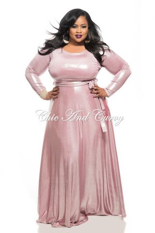 f9948f86bc5 New Plus Size Long Sleeve Dress w  Tie in Shiny Soft Pink ...