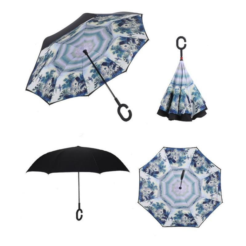 Inverted Windproof Umbrella w/ Handsfree C-hook handle