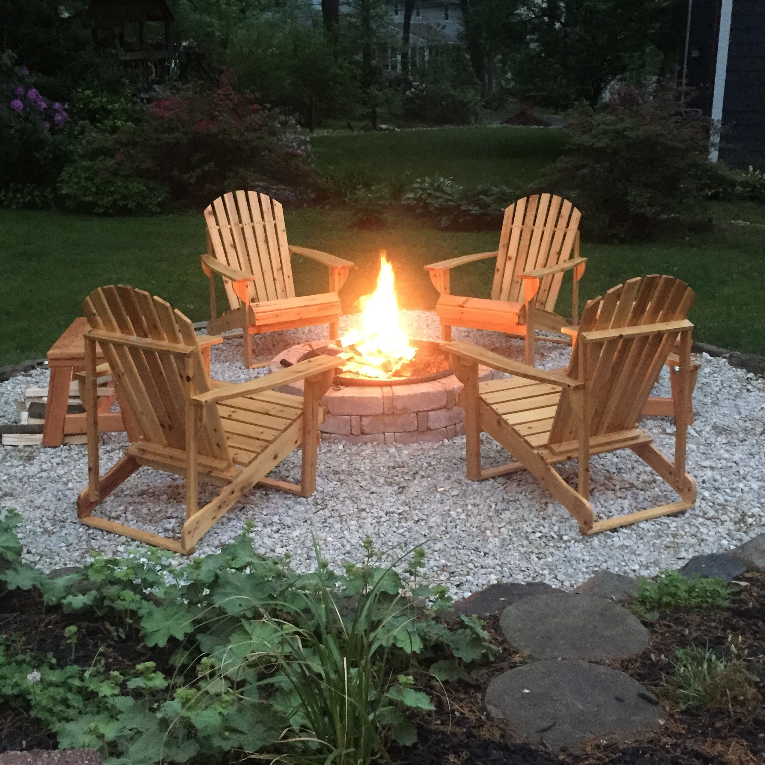 Diy Backyard Fire Pit Complete With Adirondack Chairs And