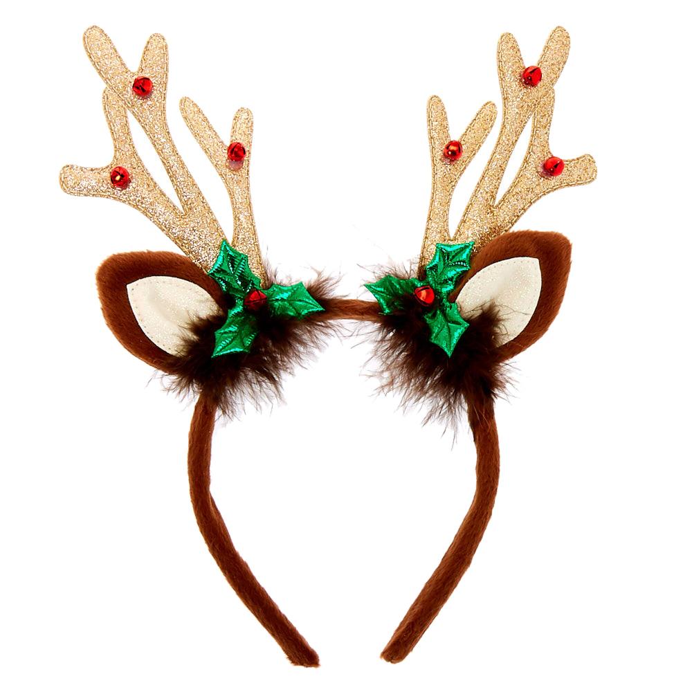 Brown Sequined Antler Headband