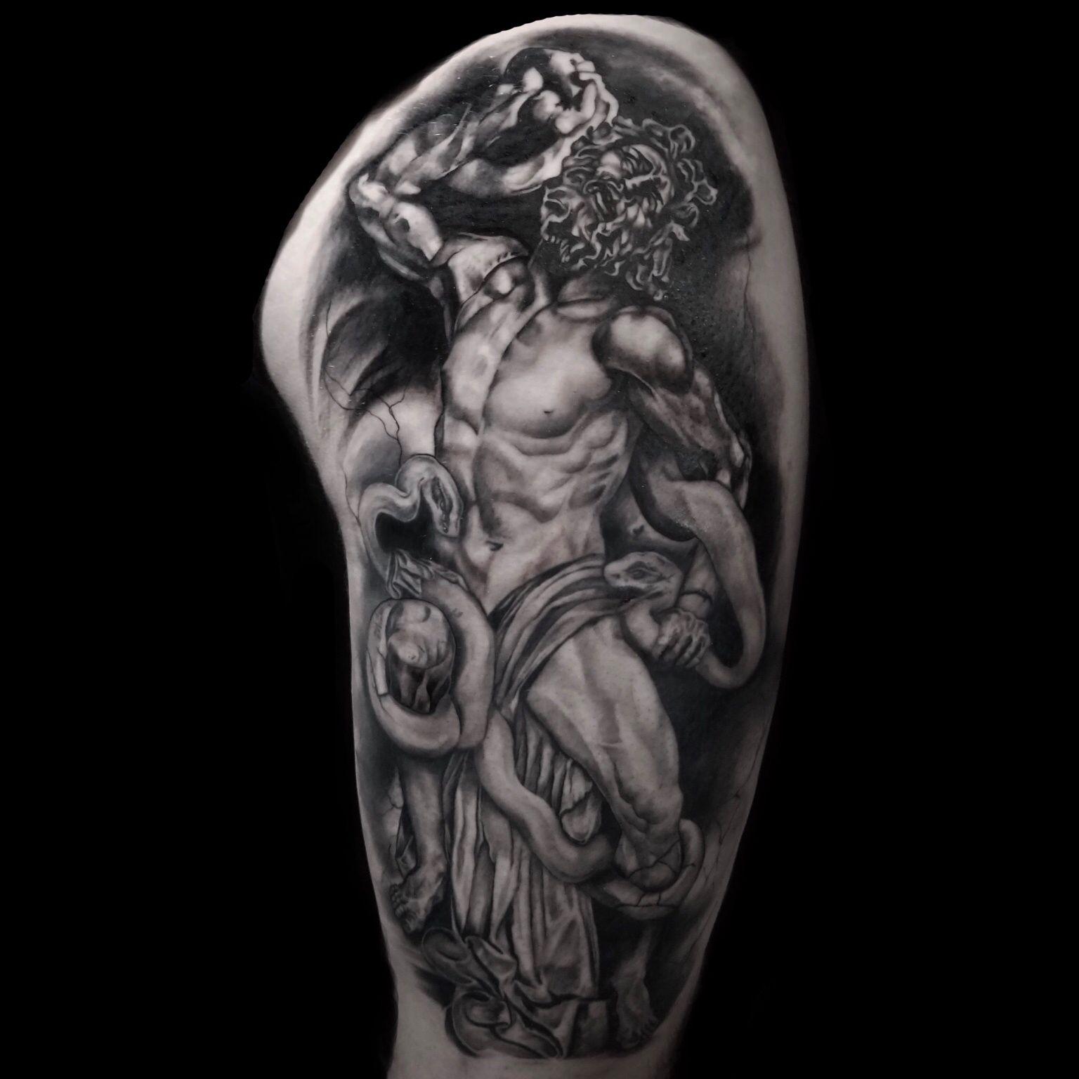 Calebmorgantattoo Finished Up This Massive Thigh Panel In Three Sessions Stygiangallery Atlantatattoo Skinartma Statue Tattoo Tattoos Mythology Tattoos
