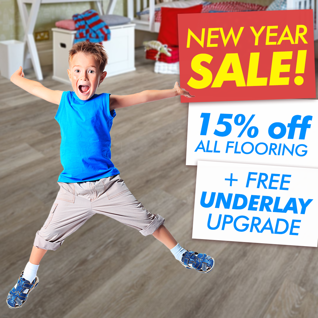 Get your flooring fitted next day! New Year Sale get 15