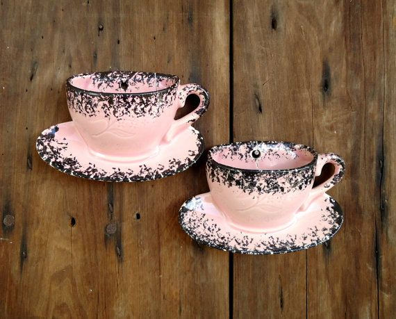 Wall Pockets Pink Vases Vintage Coffee Cups By Thesquirrelcottage 15 00