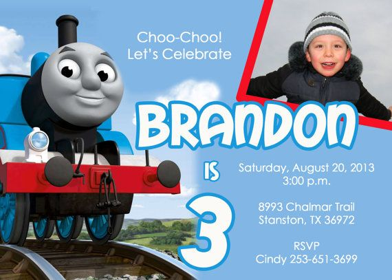 thomas the train birthday invitation - printable.digital file,