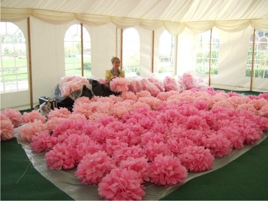 Tissue Paper Pom Poms Hot Pink Wedding Decoration