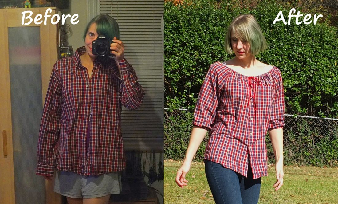 """Several  months ago, I ran across a tutorial on the Internet about  turning a men's button-down shirt into a peasant blouse. """"That's kin..."""