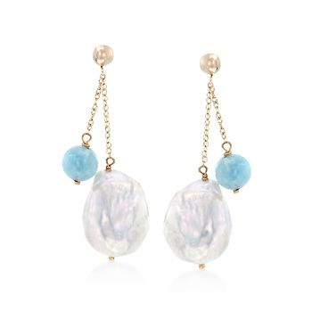 12-14mm Cultured Baroque Pearl and Milky Aquamarine Double Chain Earrings in 14kt Yellow Gold